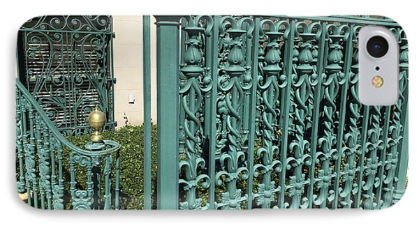 IPhone Case featuring the photograph Charleston Aqua Turquoise Rod Iron Gate John Rutledge House - Charleston Historical Architecture by Kathy Fornal