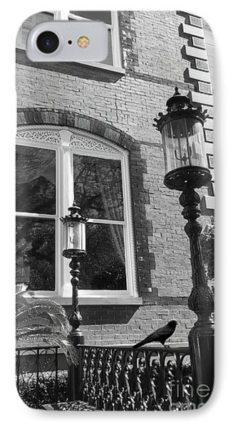IPhone Case featuring the photograph Charleston French Quarter Architecture - Window Street Lanterns Gothic French Black White Art Deco  by Kathy Fornal