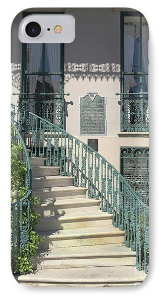 IPhone Case featuring the photograph Charleston Historical John Rutledge House - Aqua Teal Gate Staircase Architecture - Charleston Homes by Kathy Fornal