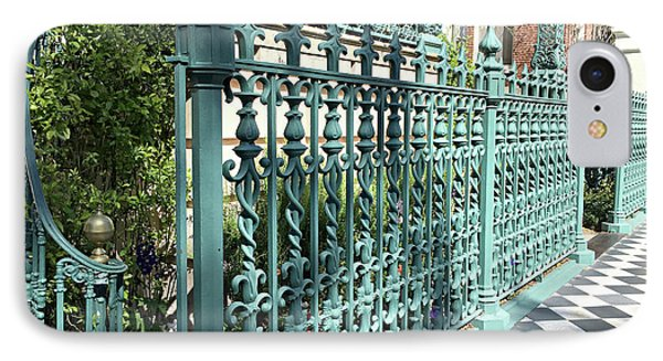 IPhone Case featuring the photograph Charleston Historical John Rutledge House Fleur Des Lis Aqua Teal Gate Fence Architecture  by Kathy Fornal