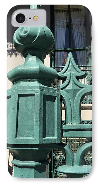 IPhone Case featuring the photograph Charleston John Rutledge House Fleur De Lis Symbols - French Quarter Architecture Gate Posts by Kathy Fornal
