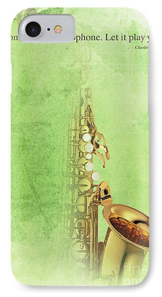 Charlie Parker Saxophone Green Vintage Poster And Quote, Gift For Musicians IPhone 7 Case by Pablo Franchi
