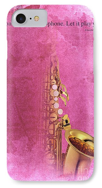 Charlie Parker Saxophone Light Red Vintage Poster And Quote, Gift For Musicians IPhone 7 Case by Pablo Franchi