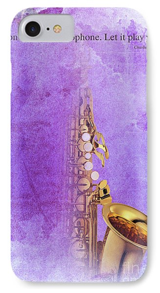 Charlie Parker Saxophone Purple Vintage Poster And Quote, Gift For Musicians IPhone 7 Case by Pablo Franchi