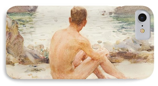 Charlie Seated On The Sand IPhone Case by Henry Scott Tuke