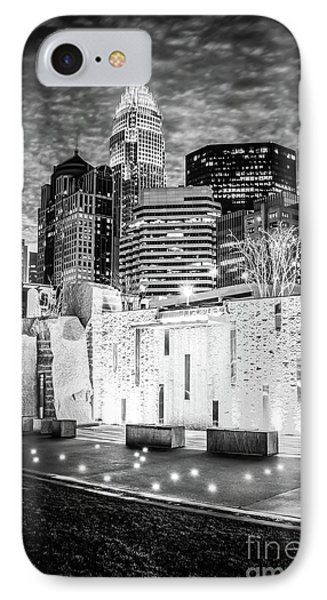Charlotte Cityscape At Night Black And White Photo IPhone Case by Paul Velgos