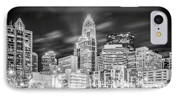Charlotte Cityscape Black And White Photo IPhone Case by Paul Velgos