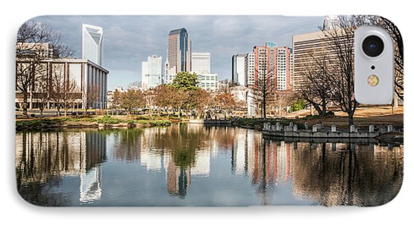 Charlotte Cityscape Reflection On Marshall Park Pond IPhone Case by Paul Velgos