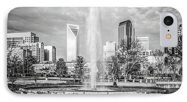 Charlotte Marshall Park Fountain Black And White Photo IPhone Case by Paul Velgos