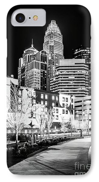 Charlotte Nc At Night Black And White Photo IPhone Case