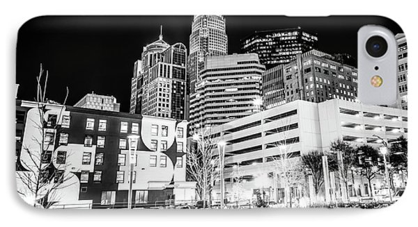 Charlotte Nc Downtown Black And White Photo IPhone Case