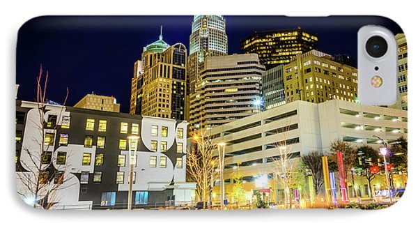 Charlotte Nc Downtown City At Night Photo IPhone Case by Paul Velgos