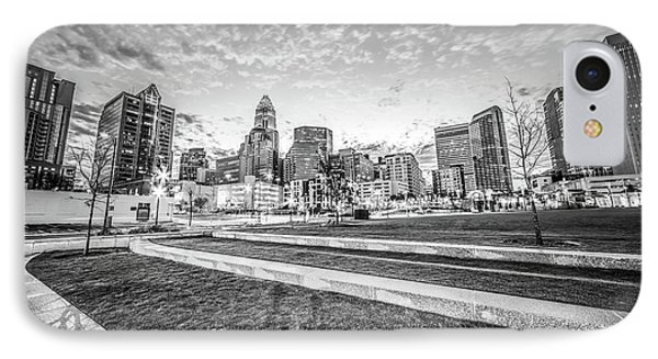 Charlotte Skyline And Bearden Park Black And White Photo IPhone Case by Paul Velgos