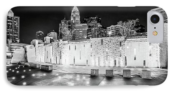 Charlotte Skyline At Night Black And White Photo IPhone Case by Paul Velgos