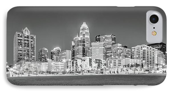 Charlotte Skyline At Night Panorama In Black And White IPhone Case by Paul Velgos