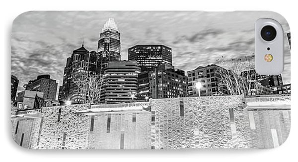 Charlotte Skyline Bearden Park Black And White Panorama IPhone Case by Paul Velgos
