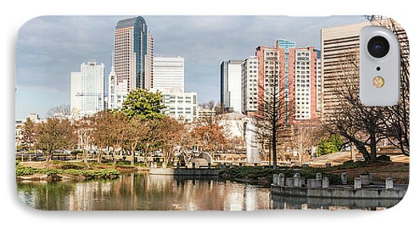Charlotte Skyline Panorama At Marshall Park Pond IPhone Case by Paul Velgos