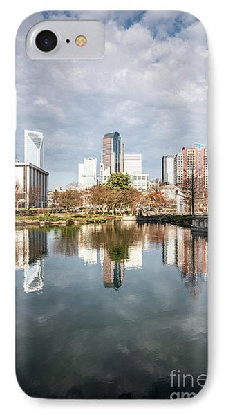 Charlotte Skyline Reflection On Marshall Park Pond IPhone Case by Paul Velgos