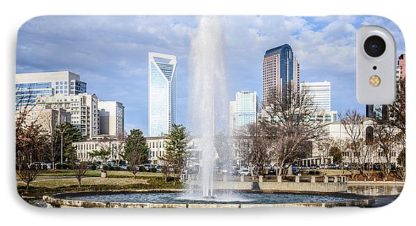 Charlotte Skyline With Marshall Park Fountain IPhone Case by Paul Velgos