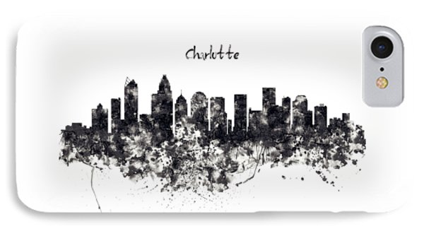Charlotte Watercolor Skyline Black And White IPhone Case by Marian Voicu