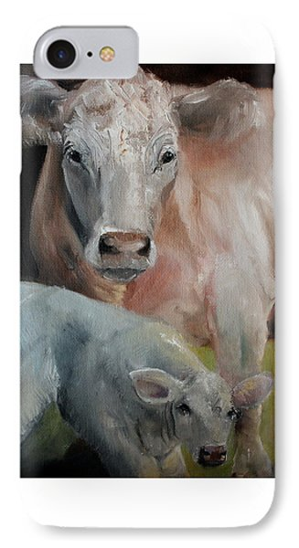 Charolais Cow Calf Painting IPhone Case by Michele Carter