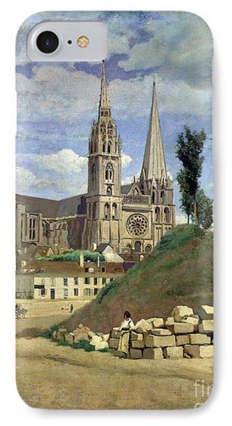 Chartres Cathedral IPhone Case by Jean Baptiste Camille Corot