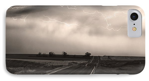 Chasing The Storm - County Rd 95 And Highway 52 - Co- Sepia Phone Case by James BO  Insogna