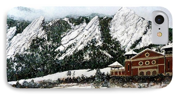 IPhone Case featuring the painting Chautauqua - Winter, Late Afternoon by Tom Roderick