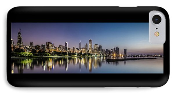 Chicago Skyline At Dawn With A Panoramic Crop  IPhone Case