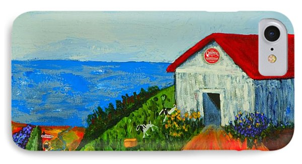 IPhone Case featuring the painting Cheerwine Barn by Angela Annas