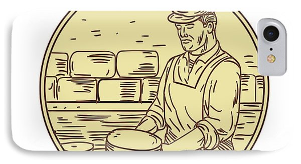 Cheesemaker Making Cheddar Cheese Circle Drawing IPhone Case by Aloysius Patrimonio