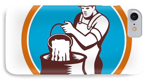 Cheesemaker Pouring Bucket Curd Circle Woodcut IPhone Case