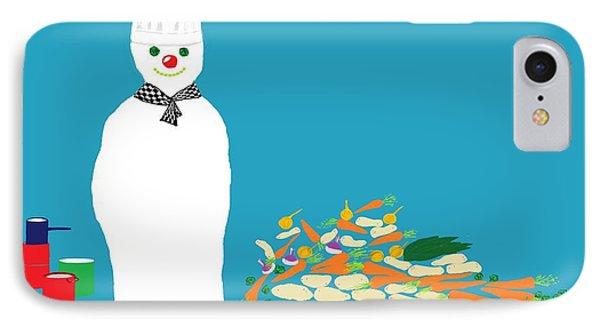 IPhone Case featuring the digital art Chef Snowman by Barbara Moignard