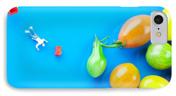IPhone Case featuring the painting Chef Tumbled In Front Of Colorful Tomatoes II Little People On Food by Paul Ge