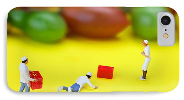 IPhone Case featuring the painting Chef Tumbled In Front Of Colorful Tomatoes Little People On Food by Paul Ge