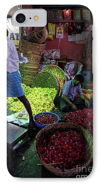 IPhone Case featuring the photograph Chennai Flower Market Busy Morning by Mike Reid