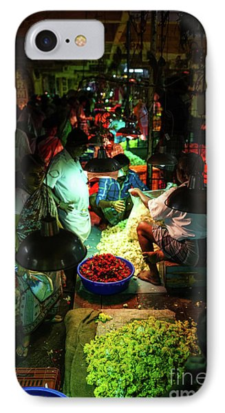 IPhone Case featuring the photograph Chennai Flower Market Stalls by Mike Reid