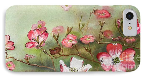 IPhone Case featuring the painting Cherokee Dogwood - Brave- Blushing by Jan Dappen