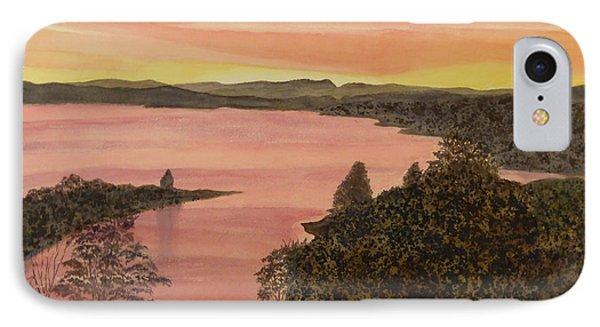 IPhone Case featuring the painting Cherokee Lake - Golden Glow by Joel Deutsch