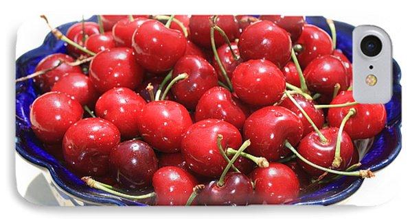 Cherries In Blue Bowl Phone Case by Carol Groenen