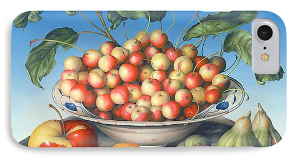 Cherries In Delft Bowl With Red And Yellow Apple IPhone Case