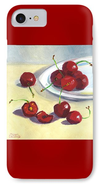 IPhone Case featuring the painting Cherries On A Plate by Susan Thomas