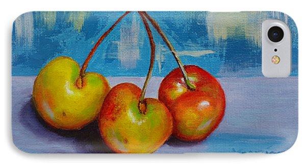 Cherries Trio IPhone Case by Janet Garcia