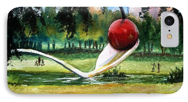 Cherry And Spoon IPhone Case by Marilyn Jacobson