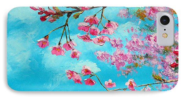 Cherry Blossom Blue IPhone Case by Jean Marc Janiaczyk