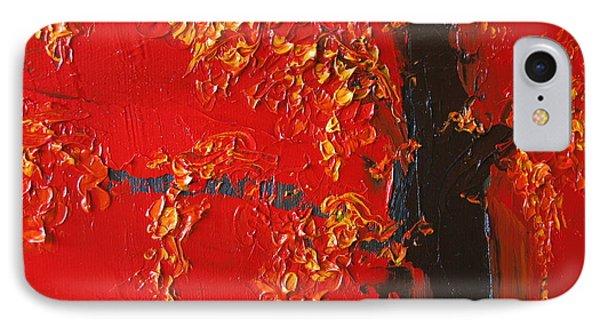 Cherry Blossom Tree - Red Yellow Phone Case by Patricia Awapara