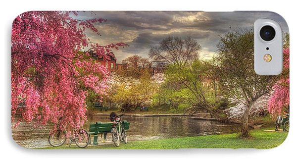 Cherry Blossom Trees On The Charles River Basin In Boston IPhone Case by Joann Vitali