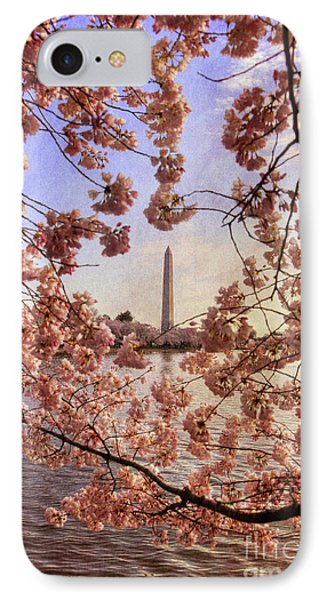 Cherry Blossoms And The Washington Monument Phone Case by Lois Bryan