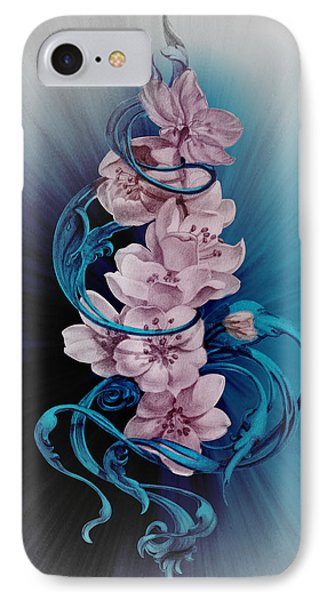 Cherry Blossoms On Blue IPhone Case by Irina Effa