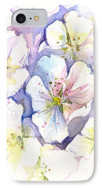 Cherry Blossoms Watercolor IPhone Case by Olga Shvartsur